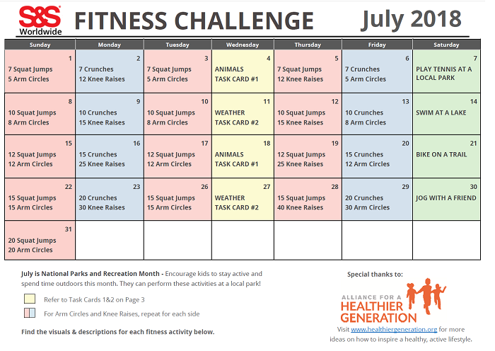 July Fitness Challenge Calendar
