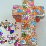 Paper Mache Christian Cross Trinket Box