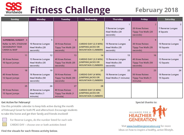 may printable fitness challenge calendar s s blog