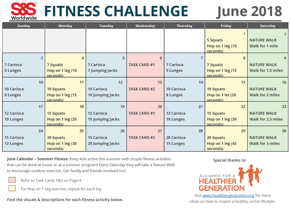 June Fitness Challenge Calendar