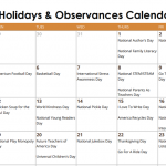 November Daily Holidays & Observances Printable Calendar