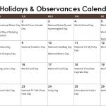 October Daily Holidays & Observances Printable Calendar