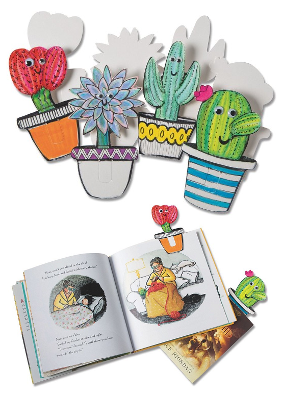 cactus bookmarks to color