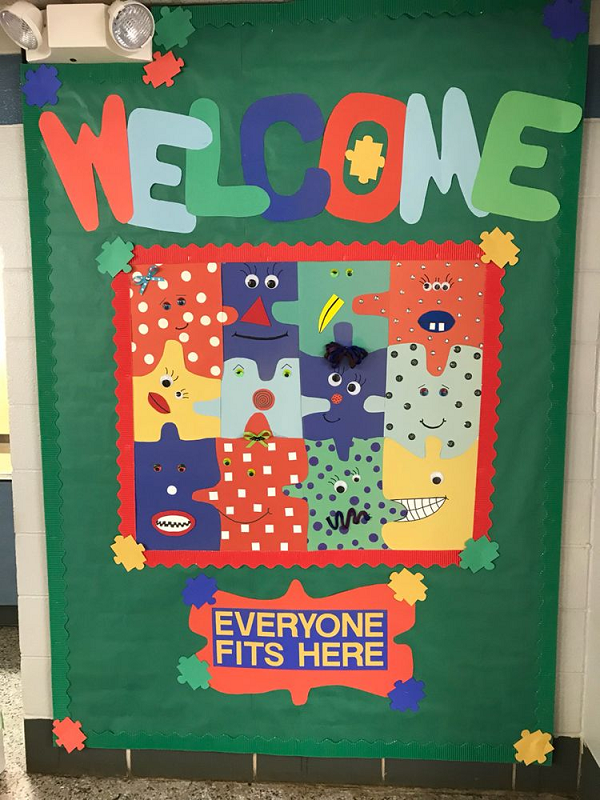 everyone fits in welcome bulletin board