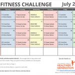 July Printable Fitness Challenge Calendar