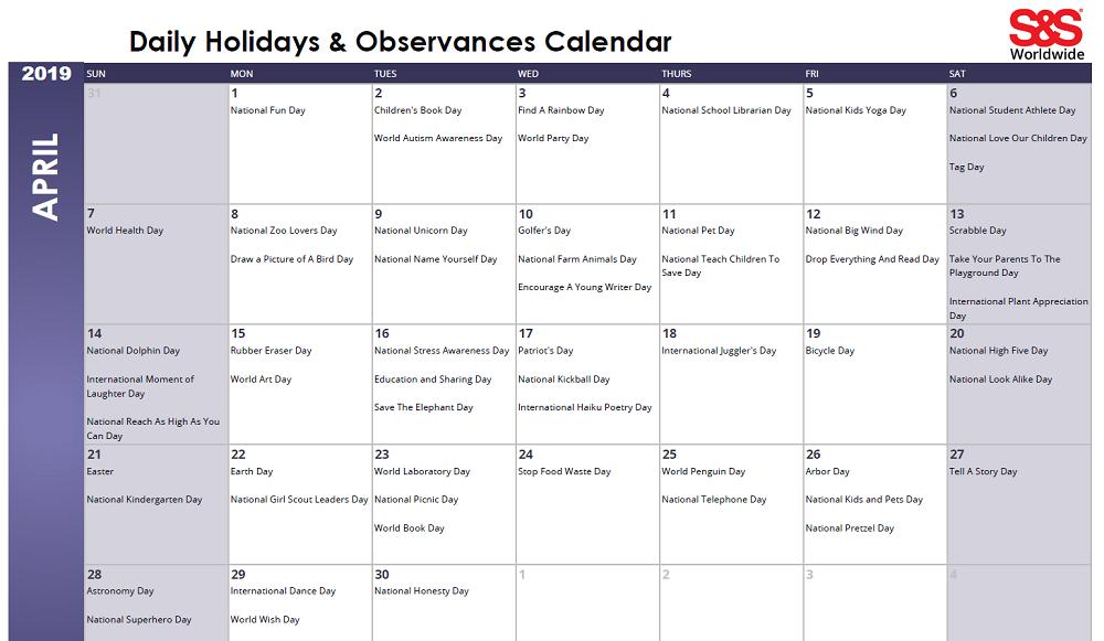 April 2019 Printable Daily Holidays Calendar