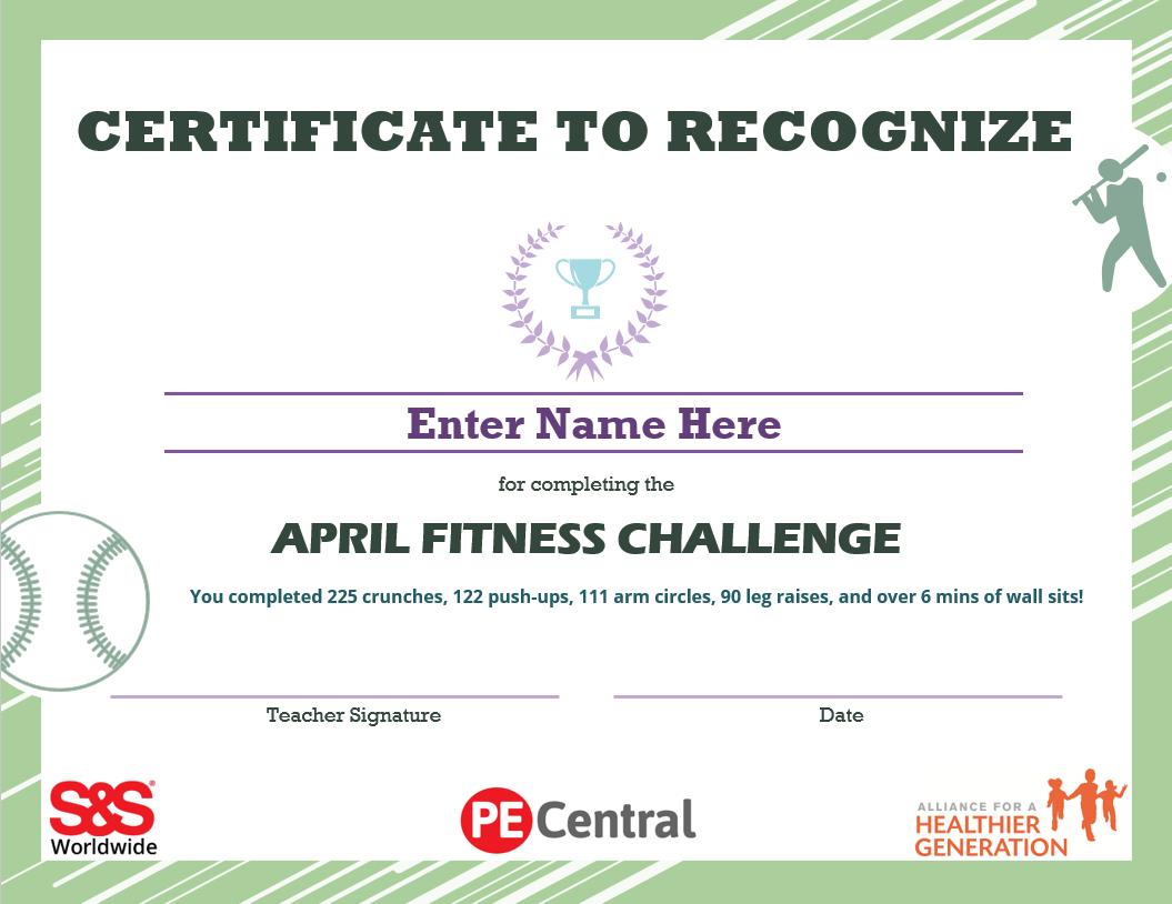 April Fitness Challenge Calendar Award