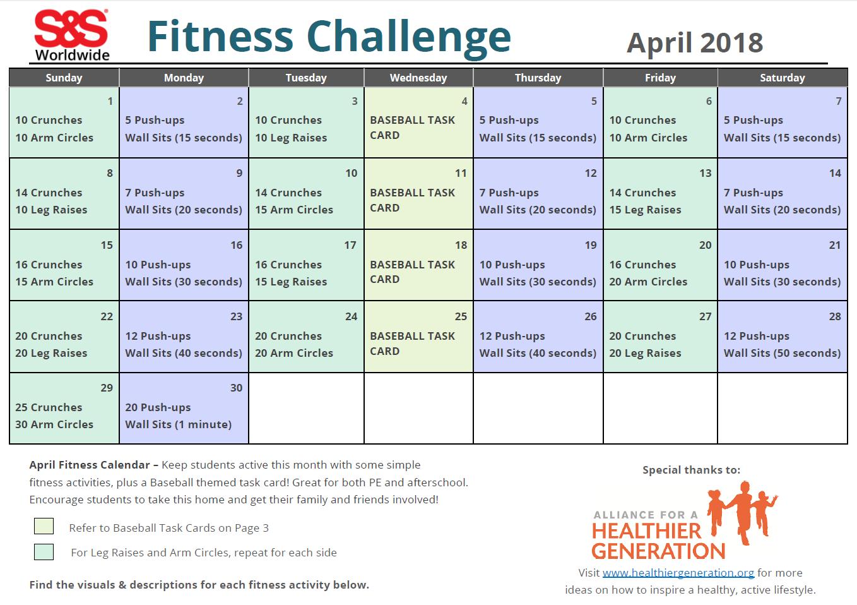 April Fitness Challenge Calendar