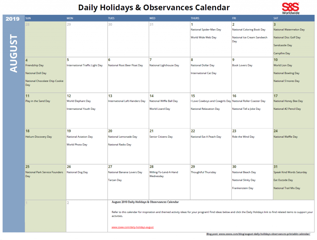 Daily Holiday Calendar.Monthly Holidays Archives S S Blog