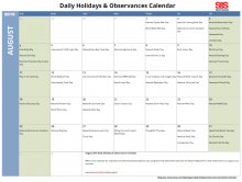 August 2019 Printable Daily Holidays Calendar