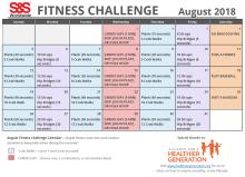 August Fitness Challenge Calendar