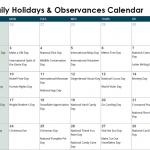 December Daily Holidays & Observances Printable Calendar