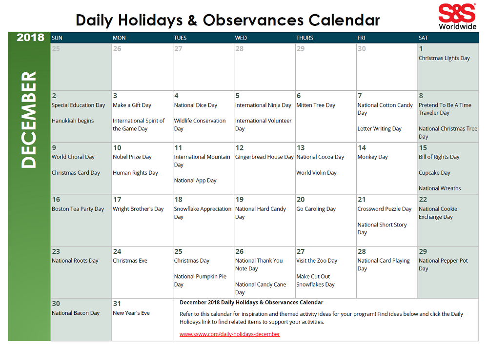 December Daily Holidays Observances Printable Calendar S S Blog