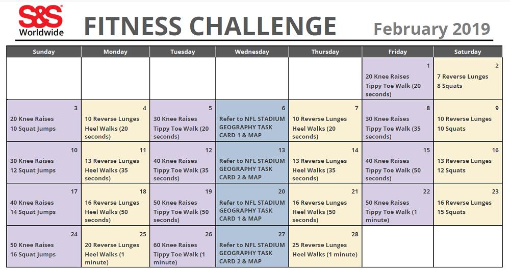February Printable Fitness Challenge Calendar S S Blog