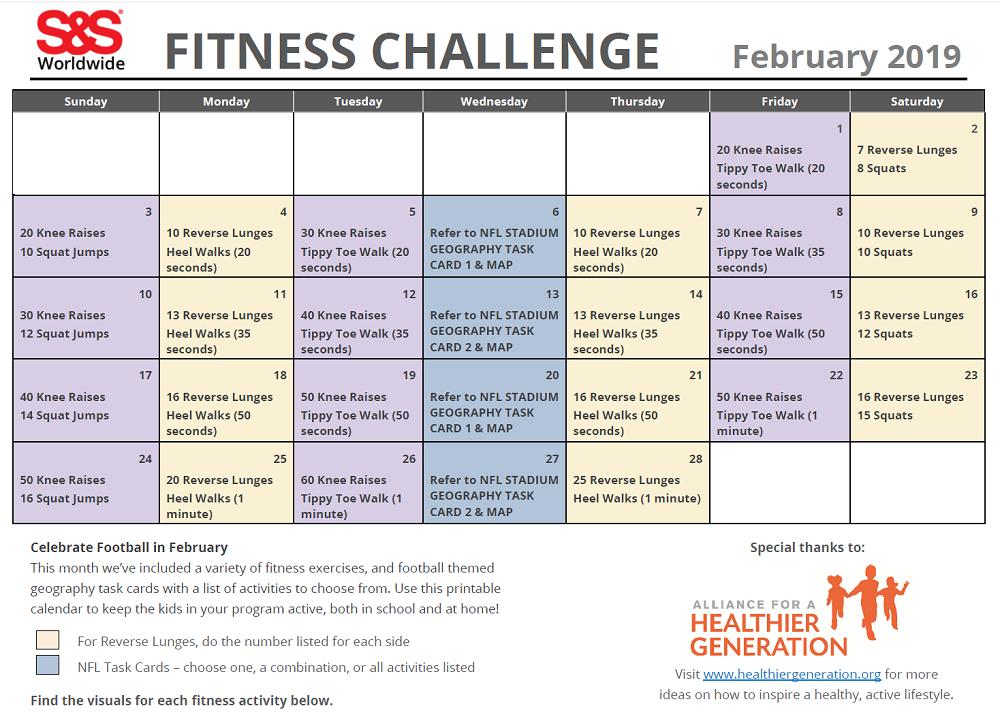 February Fitness Calendar 2019