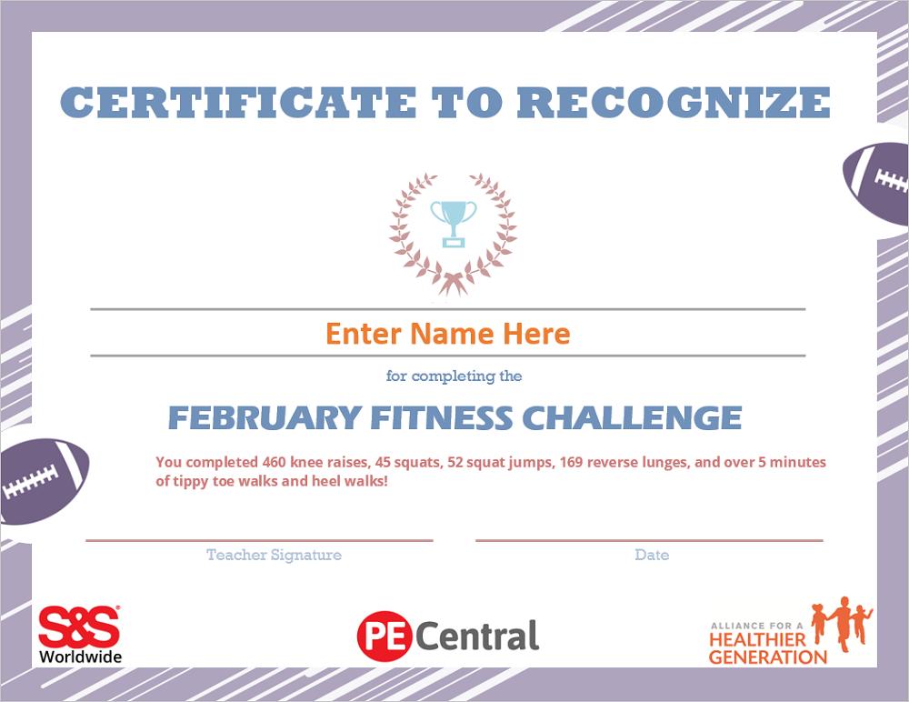 February Fitness Challenge Calendar Award