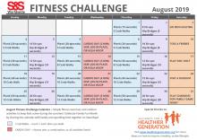 Fitness Challenge Calendar August 2019