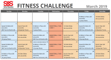 Fitness Challenge Calendar March 2019