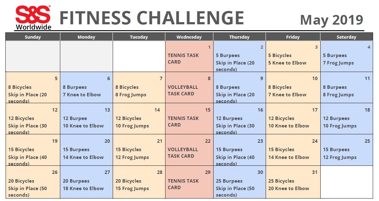 Fitness Challenge Calendar May 2019
