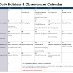 January Daily Holidays & Observances Printable Calendar