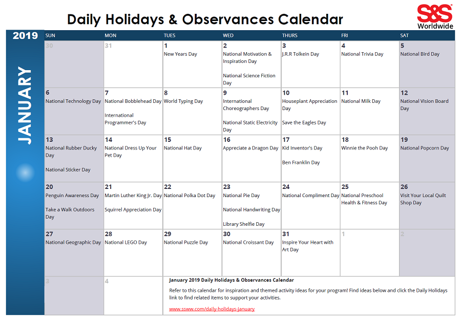 January Daily Holidays Observances Printable Calendar S S Blog