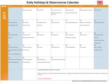 July 2019 Printable Daily Holidays Calendar