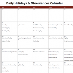 June Daily Holidays & Observances Printable Calendar