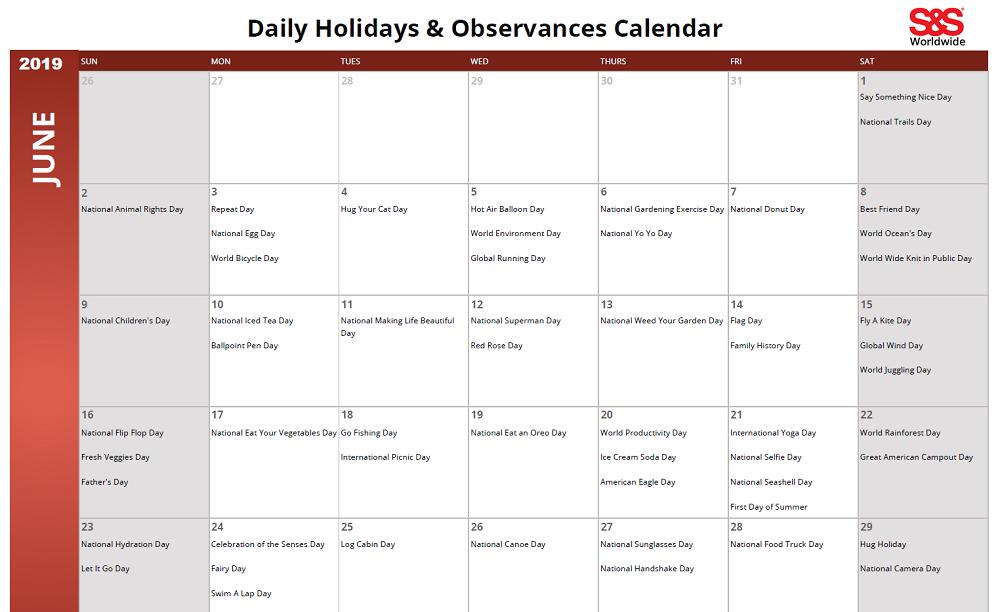 June 2019 Printable Daily Holidays Calendar