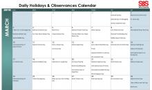 March 2019 Printable Daily Holidays Calendar