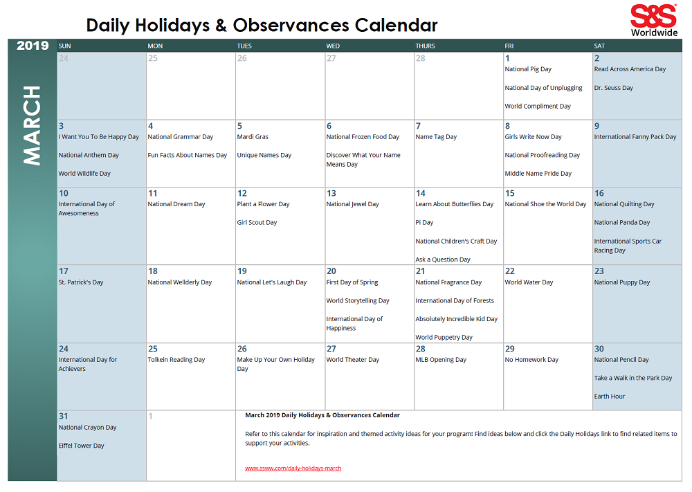 March Daily Holidays Observances Printable Calendar S S Blog