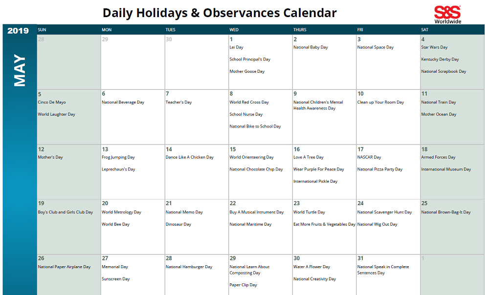 May 2019 Printable Daily Holidays Calendar 2