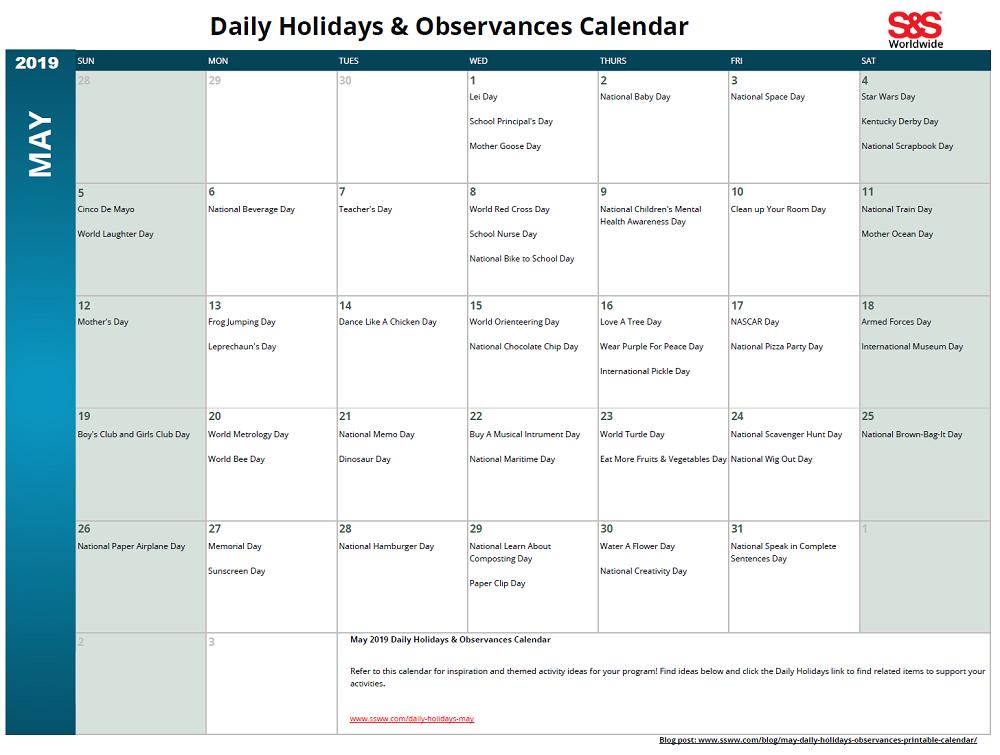 May 2019 Printable Daily Holidays Calendar