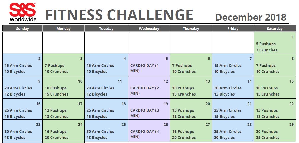 December Printable Fitness Challenge Calendar S S Blog