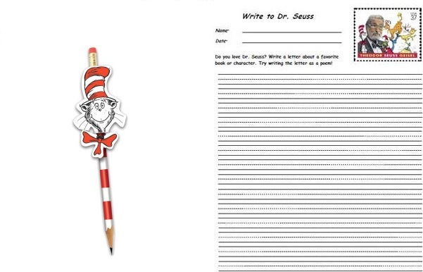 cat in hat pencil and letter to dr suess