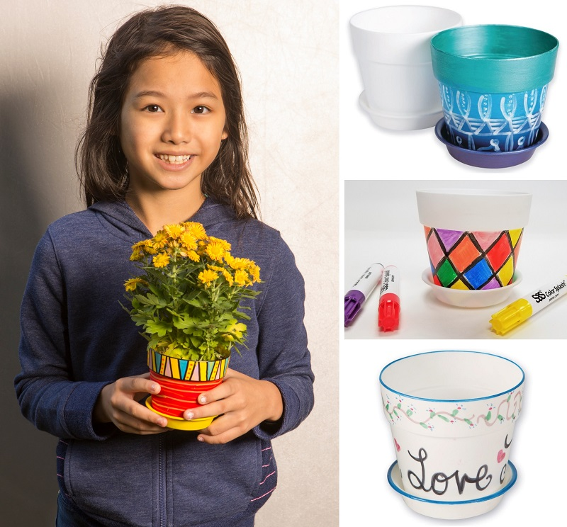 color me flower pot