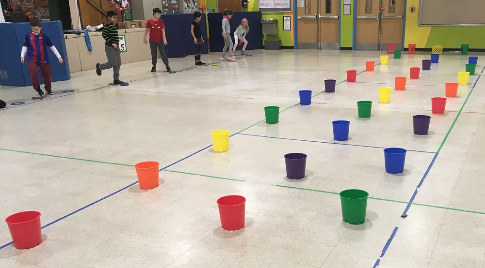colorful bucket PE activity