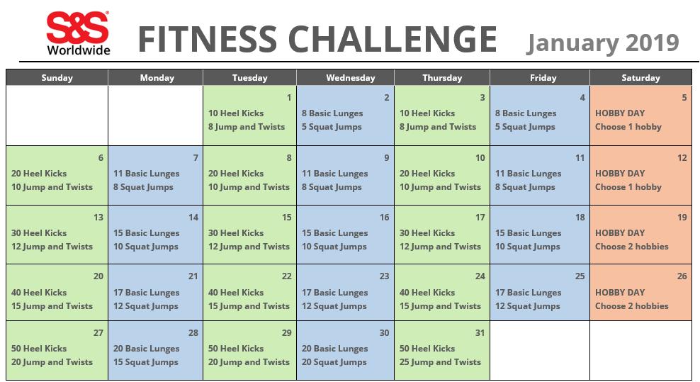 fitness challenge calendar Jan 2019
