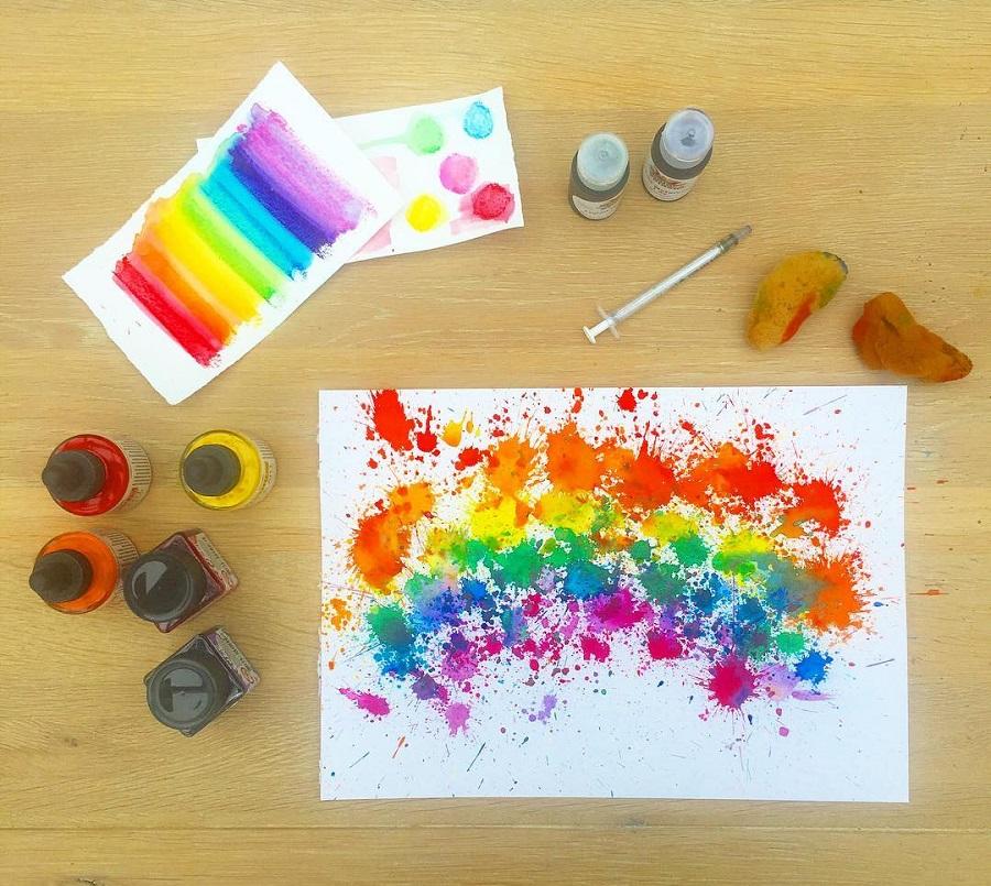 rainbow liquid watercolor craft
