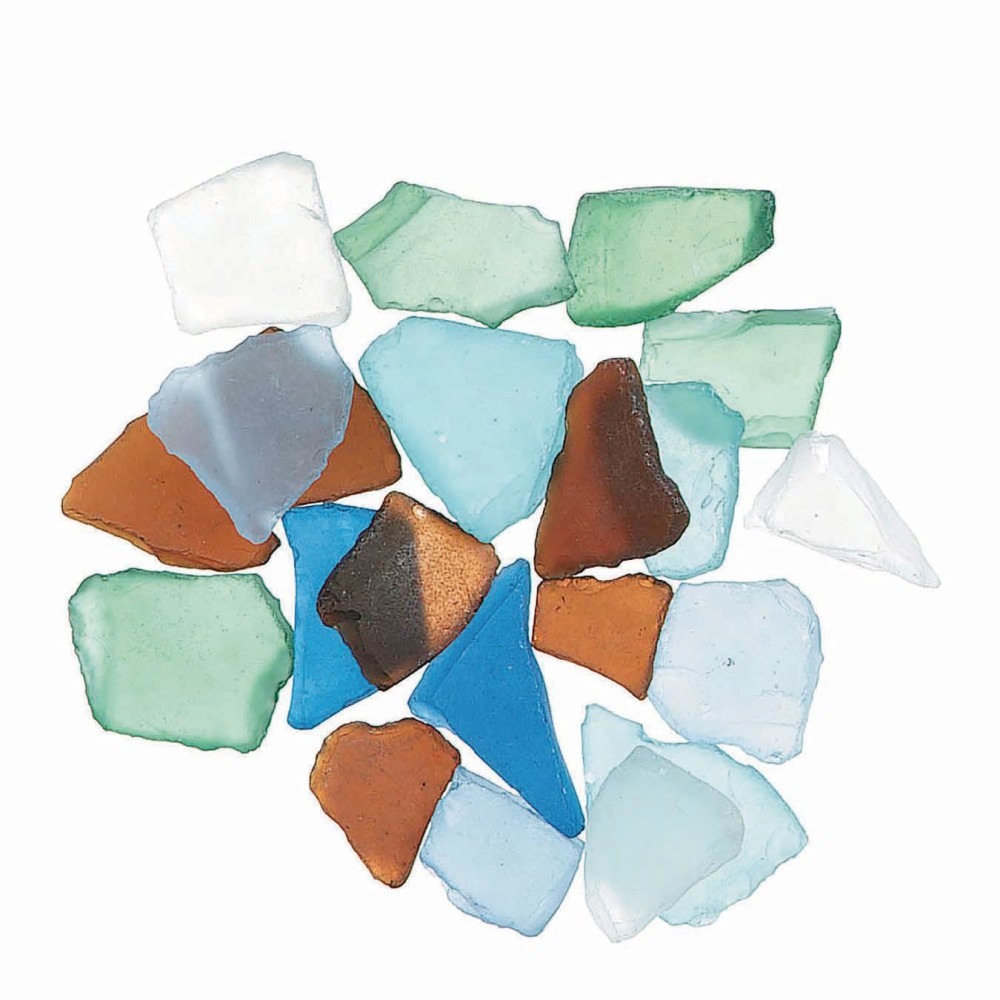 ''Faux Sea Glass Chips, Ocean Blue, Assorted Colors''