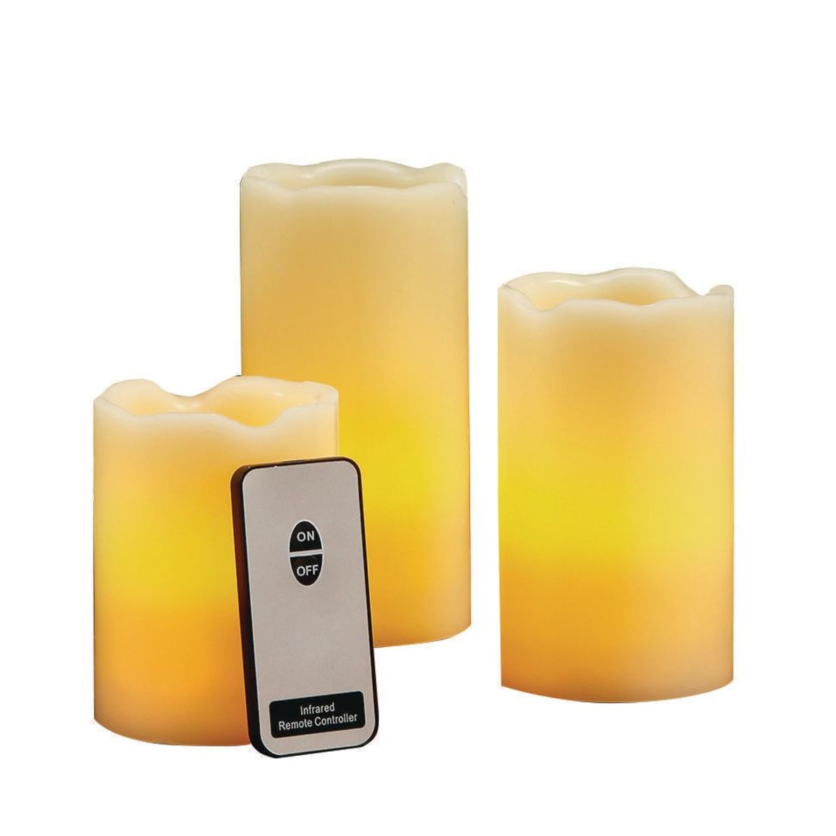 LED Pillar Wax CANDLEs with Remote (set of 3) (set of 3)